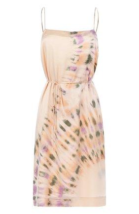 Шелковое приталенное платье с принтом | Фото №1