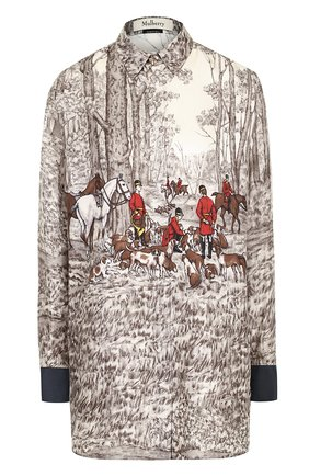 Шелковая блуза прямого кроя с принтом | Фото №1
