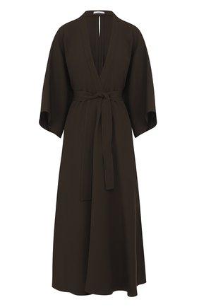 Приталенное платье-миди с поясом | Фото №1