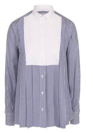 Женская хлопковая блуза прямого кроя в контрастную полоску Sacai, цвет белый, арт. 17-03316 в ЦУМ | Фото №1