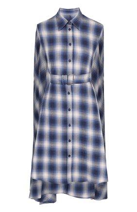 Хлопковая блуза асимметричного кроя с поясом | Фото №1