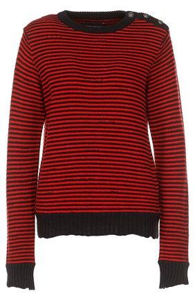 Вязаный пуловер в контрастную полоску Zadig&Voltaire красный | Фото №1