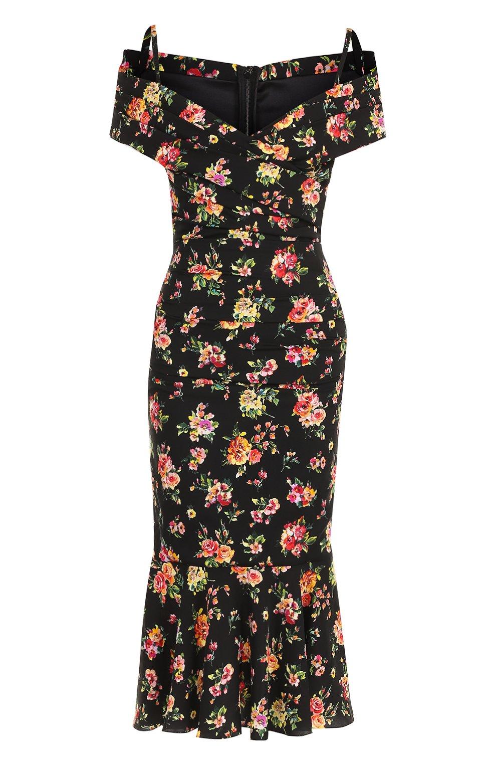 Шелковое платье-миди с цветочным принтом | Фото №1