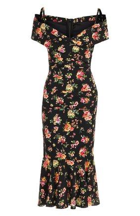 Шелковое платье-миди с цветочным принтом Dolce & Gabbana разноцветное | Фото №1