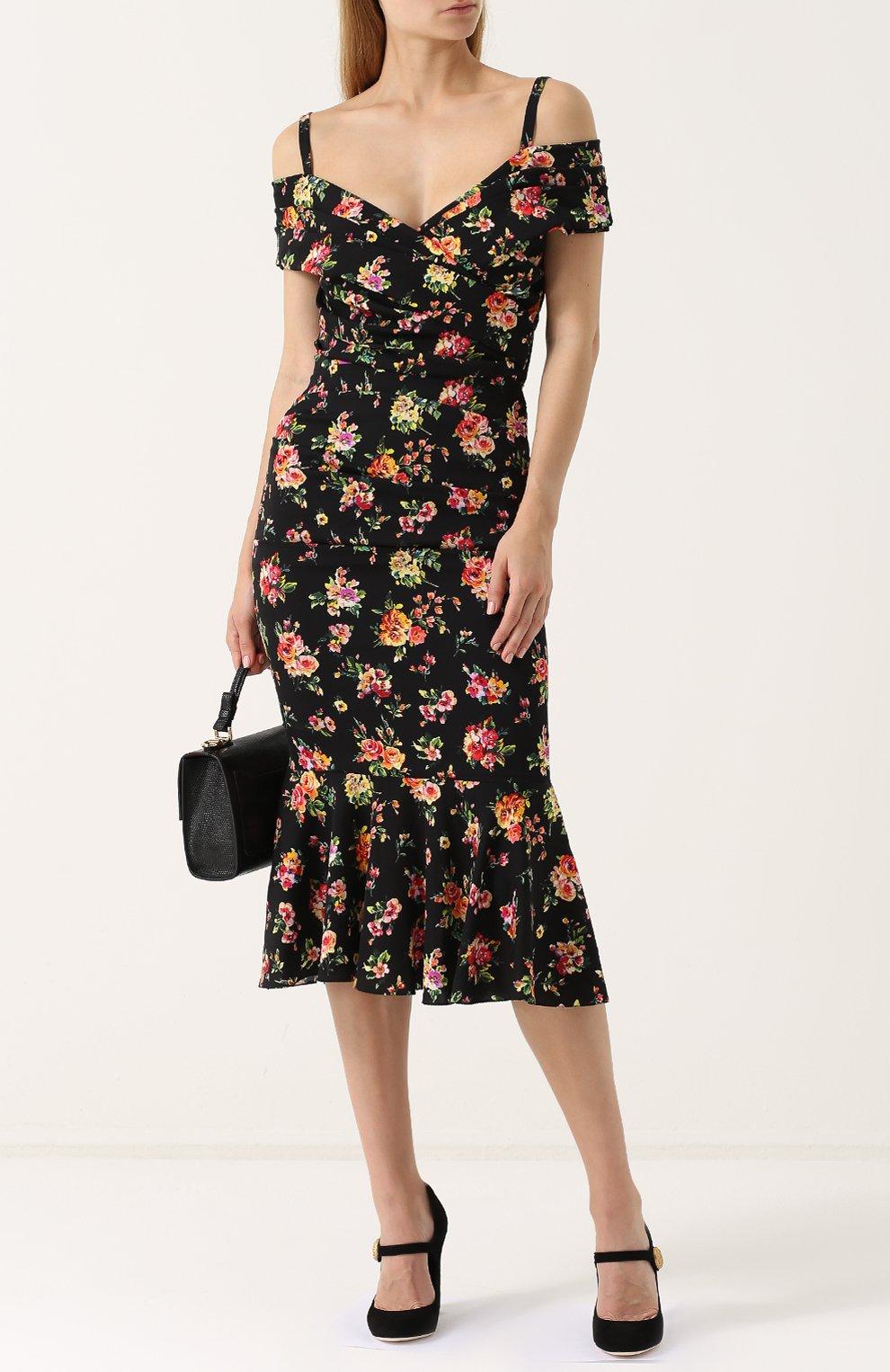 Шелковое платье-миди с цветочным принтом Dolce & Gabbana разноцветное | Фото №2