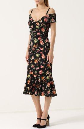 Шелковое платье-миди с цветочным принтом Dolce & Gabbana разноцветное | Фото №3