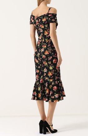 Шелковое платье-миди с цветочным принтом Dolce & Gabbana разноцветное | Фото №4