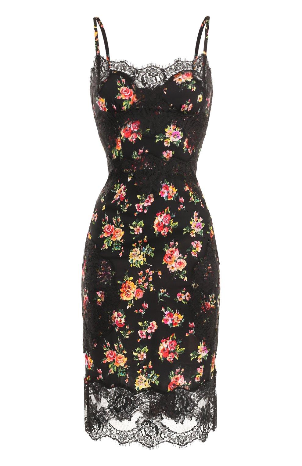 Шелковое платье-миди с кружевной отделкой и принтом   Фото №1
