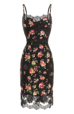 Шелковое платье-миди с кружевной отделкой и принтом Dolce & Gabbana разноцветное   Фото №1
