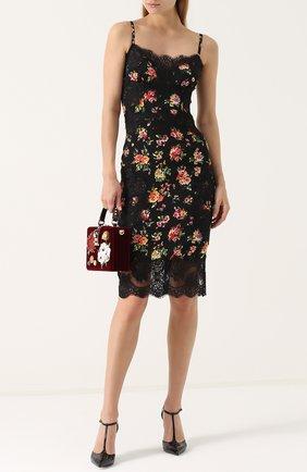 Шелковое платье-миди с кружевной отделкой и принтом Dolce & Gabbana разноцветное   Фото №2
