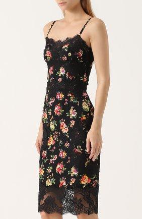 Шелковое платье-миди с кружевной отделкой и принтом Dolce & Gabbana разноцветное   Фото №3