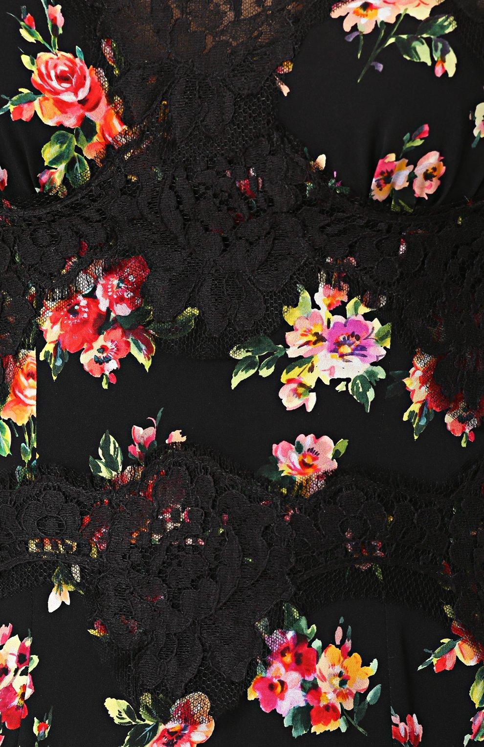 Шелковое платье-миди с кружевной отделкой и принтом Dolce & Gabbana разноцветное   Фото №5