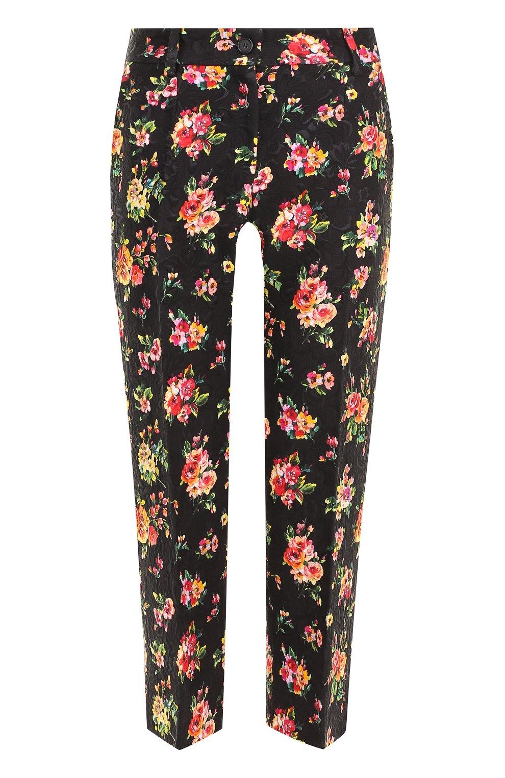 Укороченные брюки с цветочным принтом   Фото №1