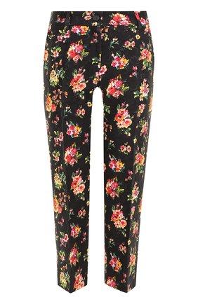 Укороченные брюки с цветочным принтом Dolce & Gabbana разноцветные   Фото №1