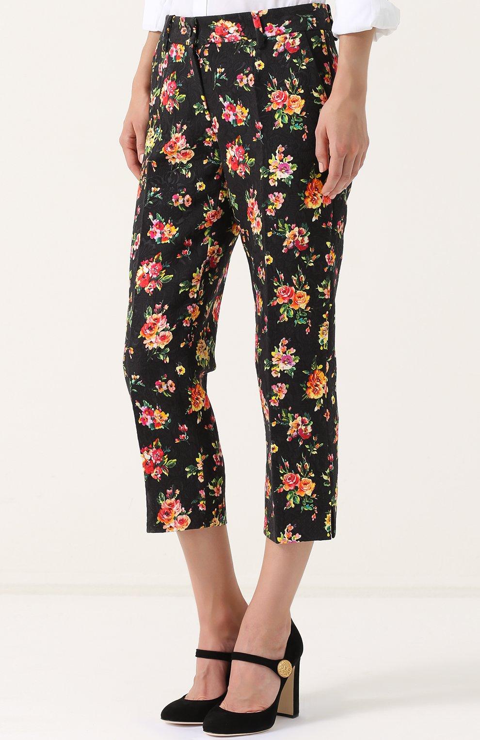 Укороченные брюки с цветочным принтом Dolce & Gabbana разноцветные   Фото №3