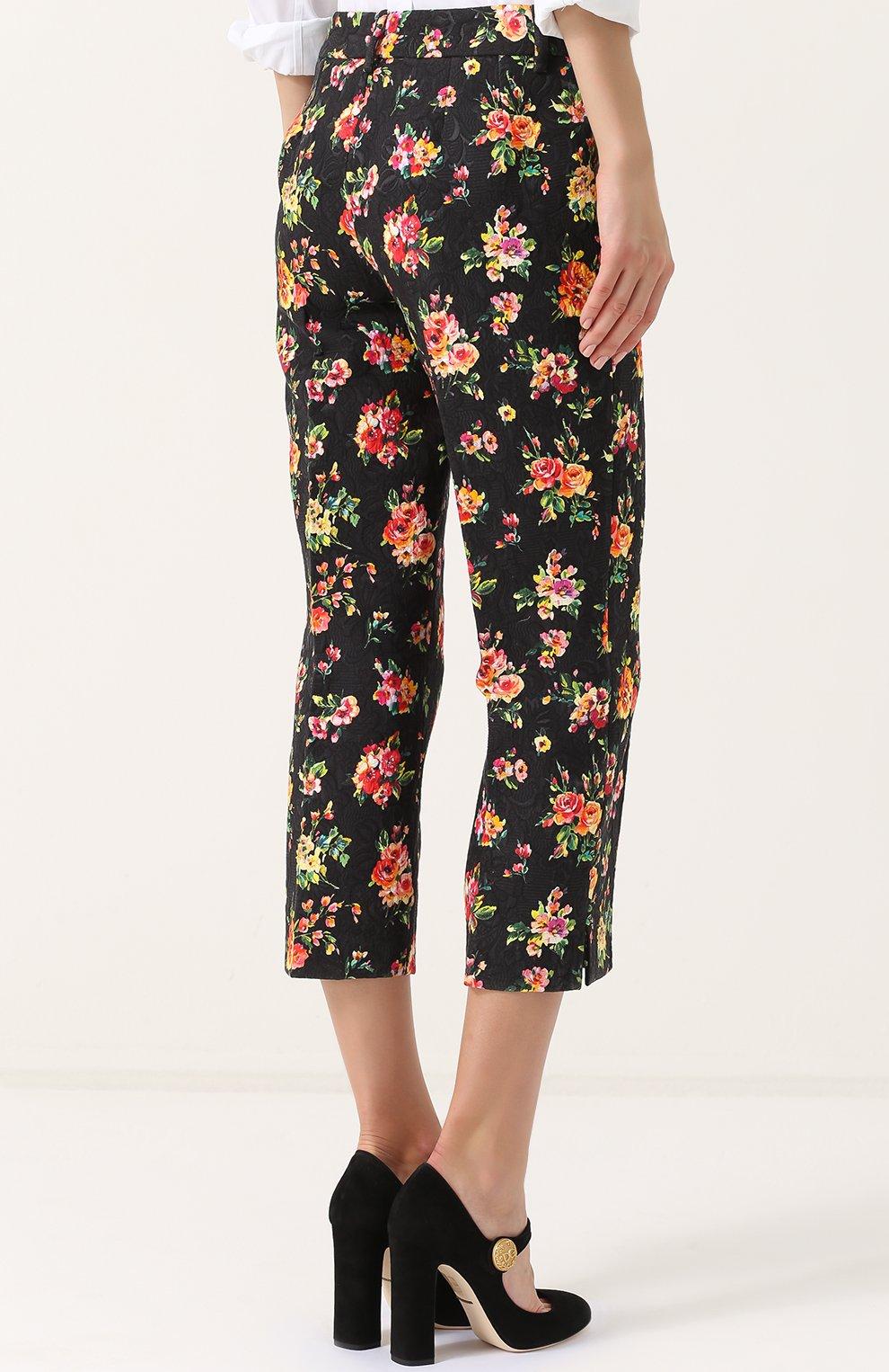 Укороченные брюки с цветочным принтом Dolce & Gabbana разноцветные   Фото №4