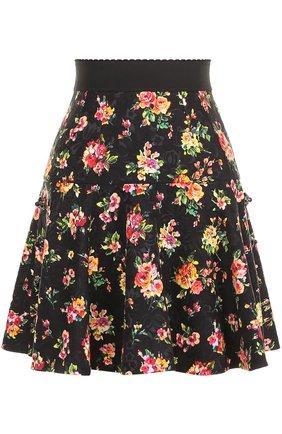 Мини-юбка с оборками и цветочным принтом Dolce & Gabbana разноцветная | Фото №1
