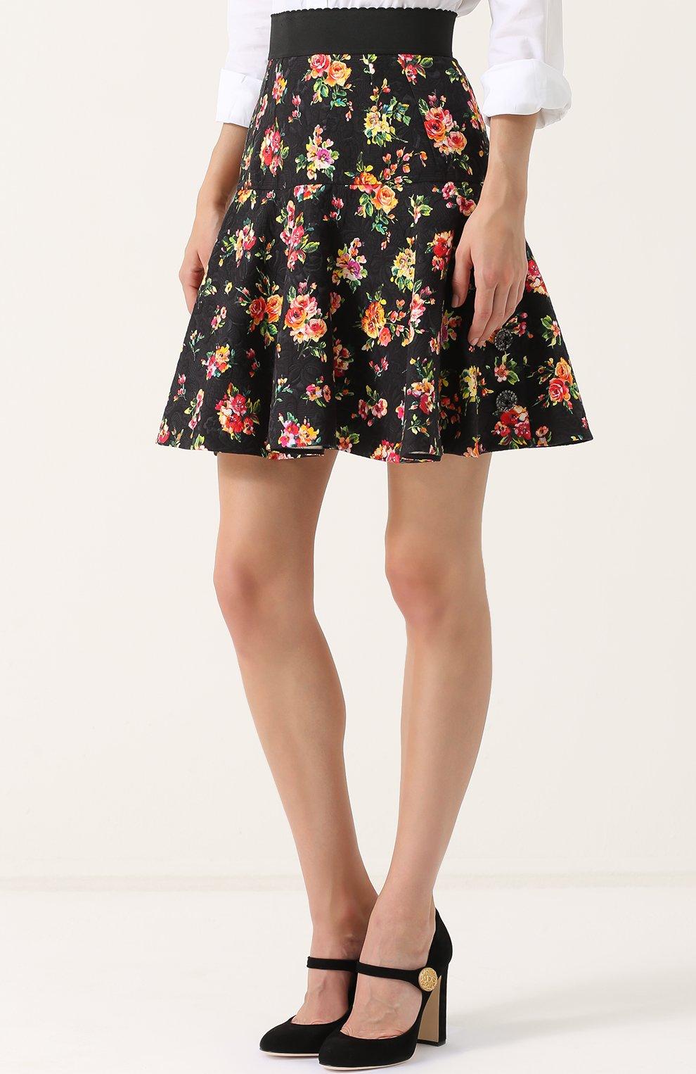 Мини-юбка с оборками и цветочным принтом Dolce & Gabbana разноцветная | Фото №3