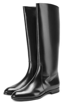 Кожаные сапоги на низком каблуке Santoni черные | Фото №1