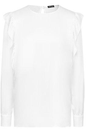 Шелковая блуза прямого кроя с оборками | Фото №1