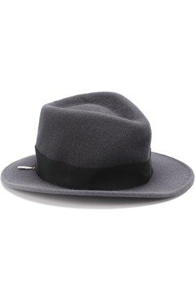 Фетровая шляпа с брошками House Of Lafayette темно-серого цвета   Фото №1