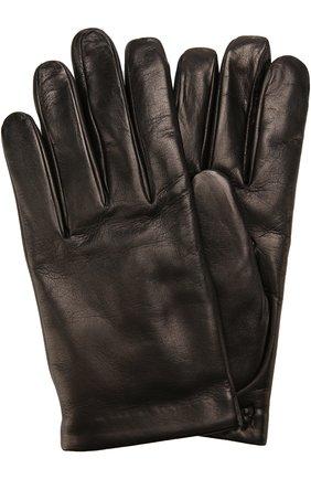 Мужские кожаные перчатки с кашемировой подкладкой BRIONI черного цвета, арт. 05S2/04752 | Фото 1