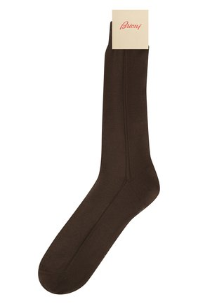 Мужские шелковые носки BRIONI коричневого цвета, арт. 0VMC/P3Z21   Фото 1 (Материал внешний: Шелк; Кросс-КТ: бельё)
