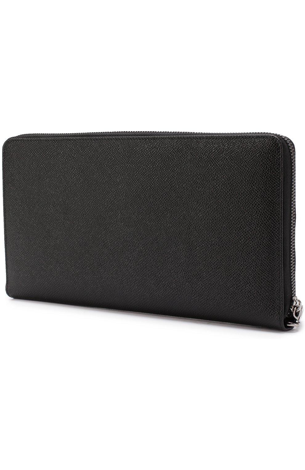 Кожаный футляр для документов на молнии Dolce & Gabbana черного цвета   Фото №2