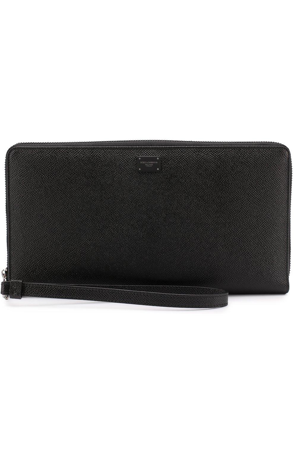 Кожаный футляр для документов на молнии Dolce & Gabbana черного цвета   Фото №4