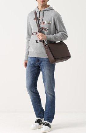Кожаный мессенджер с внешним карманом на молнии Bally коричневая   Фото №1
