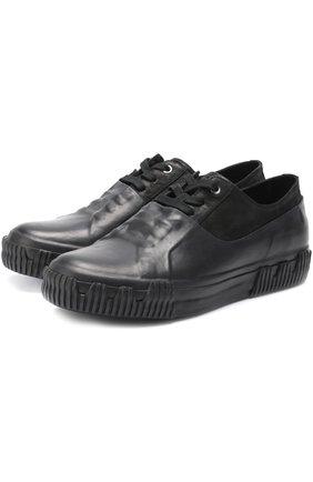 Комбинированные кеды на шнуровке Both черные | Фото №1