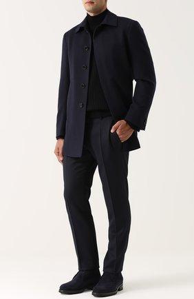 Мужской укороченное пальто из смеси шерсти и кашемира с шелком BRIONI темно-синего цвета, арт. R0L0/06AAA | Фото 2