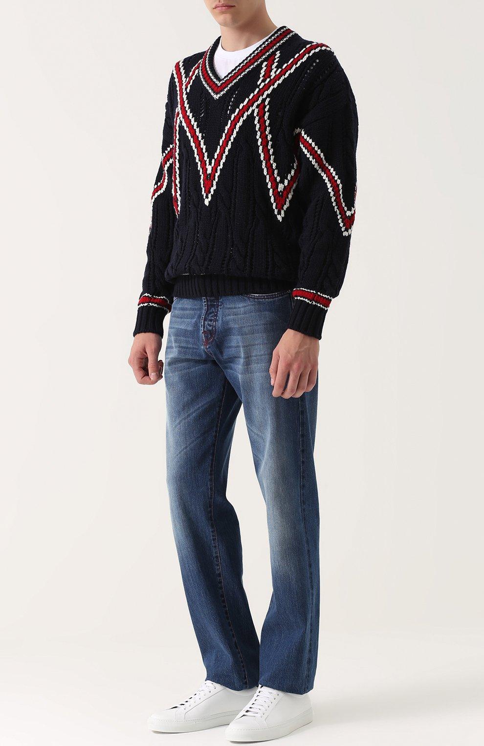 Шерстяной вязаный свитер | Фото №2