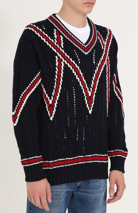 Шерстяной вязаный свитер | Фото №3