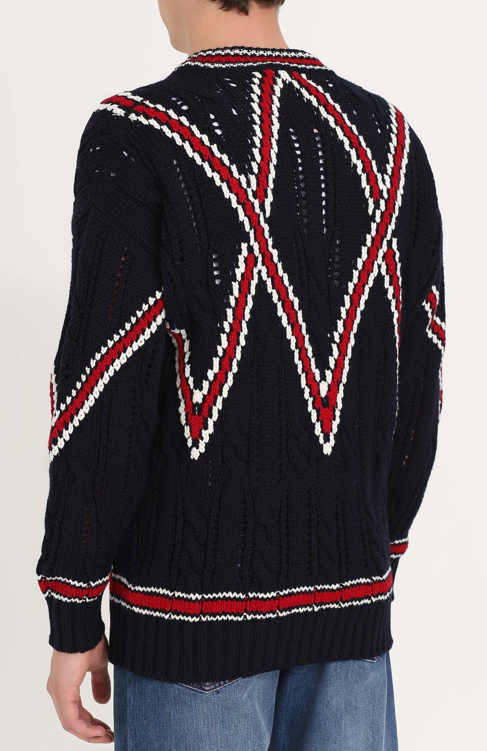 Шерстяной вязаный свитер | Фото №4