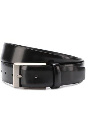 Мужской кожаный ремень с металлической пряжкой CANALI черного цвета, арт. 50/KA00034 | Фото 1