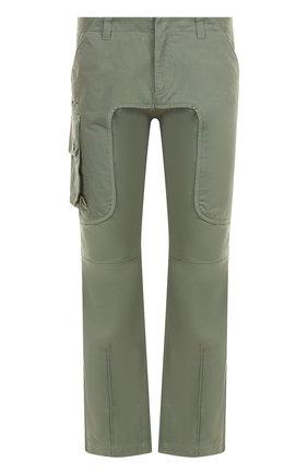 Хлопковые брюки прямого кроя Marcelo Burlon хаки   Фото №1