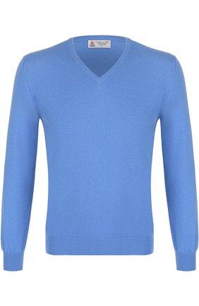 Кашемировый пуловер тонкой вязки Turnbull & Asser фиолетовый | Фото №1