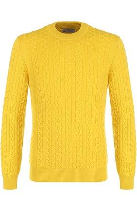 Кашемировый джемпер фактурной вязки Turnbull & Asser желтый | Фото №1