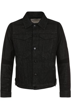 Джинсовая куртка на пуговицах с декоративной отделкой | Фото №1