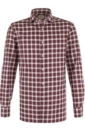 Хлопковая рубашка в клетку Luigi Borrelli красная | Фото №1