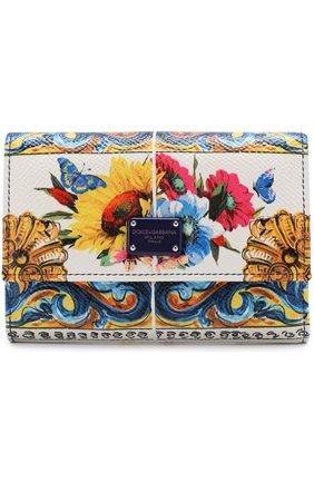 Кожаный кошелек с принтом Dolce & Gabbana разноцветного цвета | Фото №1