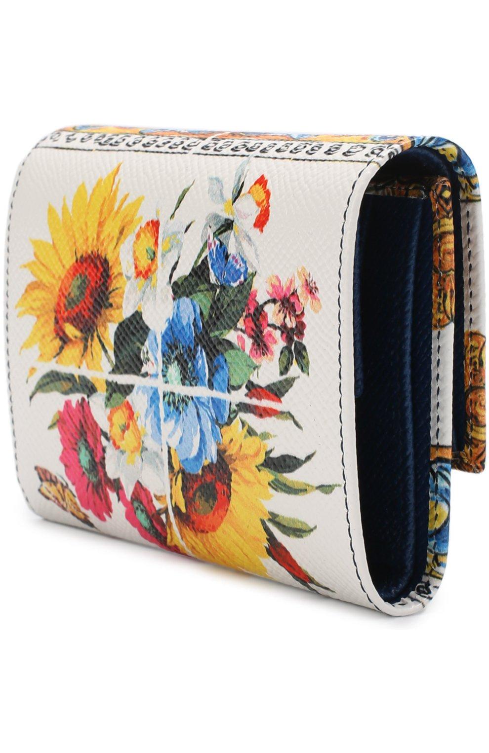 Кожаный кошелек с принтом Dolce & Gabbana разноцветного цвета | Фото №2