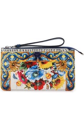 Кожаный кошелек с принтом на молнии Dolce & Gabbana разноцветного цвета | Фото №1