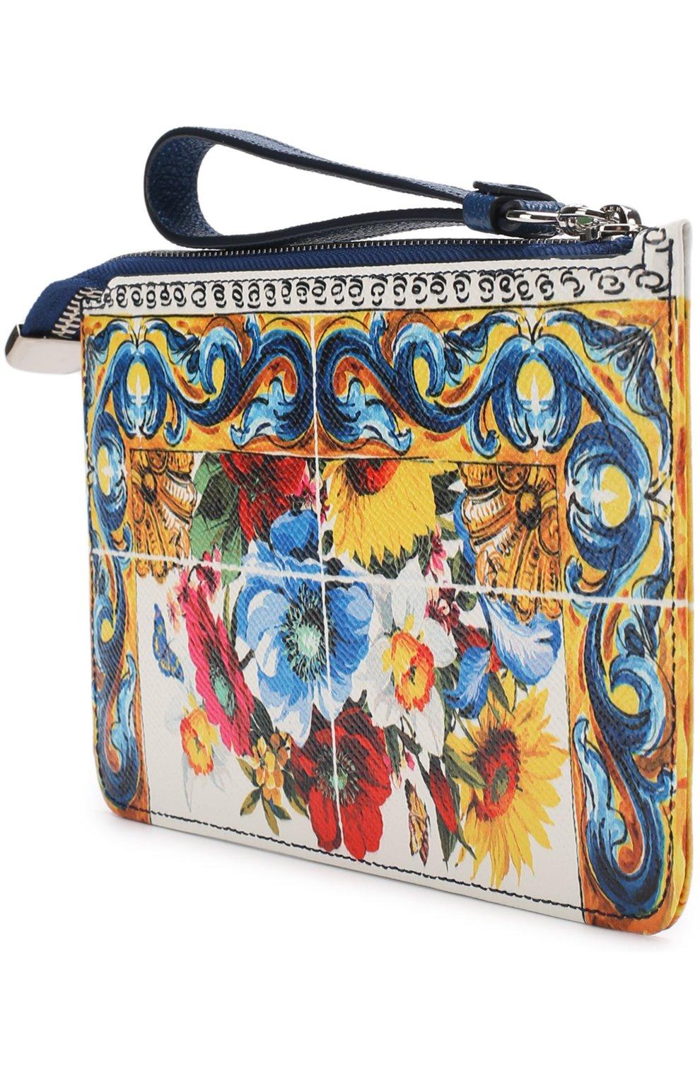 Кожаный кошелек с принтом на молнии Dolce & Gabbana разноцветного цвета | Фото №2