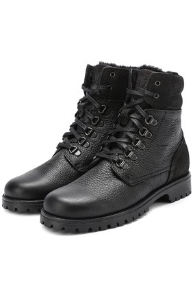 Детские кожаные ботинки на шнуровке с молнией Dolce & Gabbana черного цвета | Фото №1