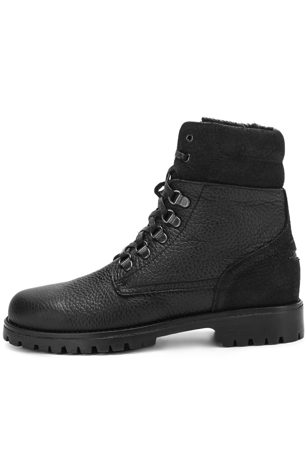 Детские кожаные ботинки на шнуровке с молнией Dolce & Gabbana черного цвета | Фото №2