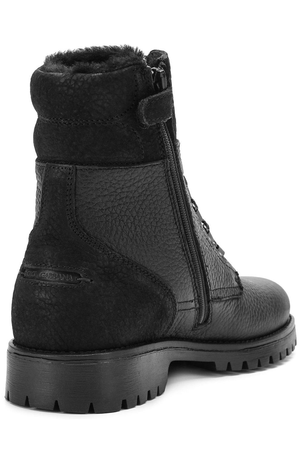 Детские кожаные ботинки на шнуровке с молнией Dolce & Gabbana черного цвета | Фото №3