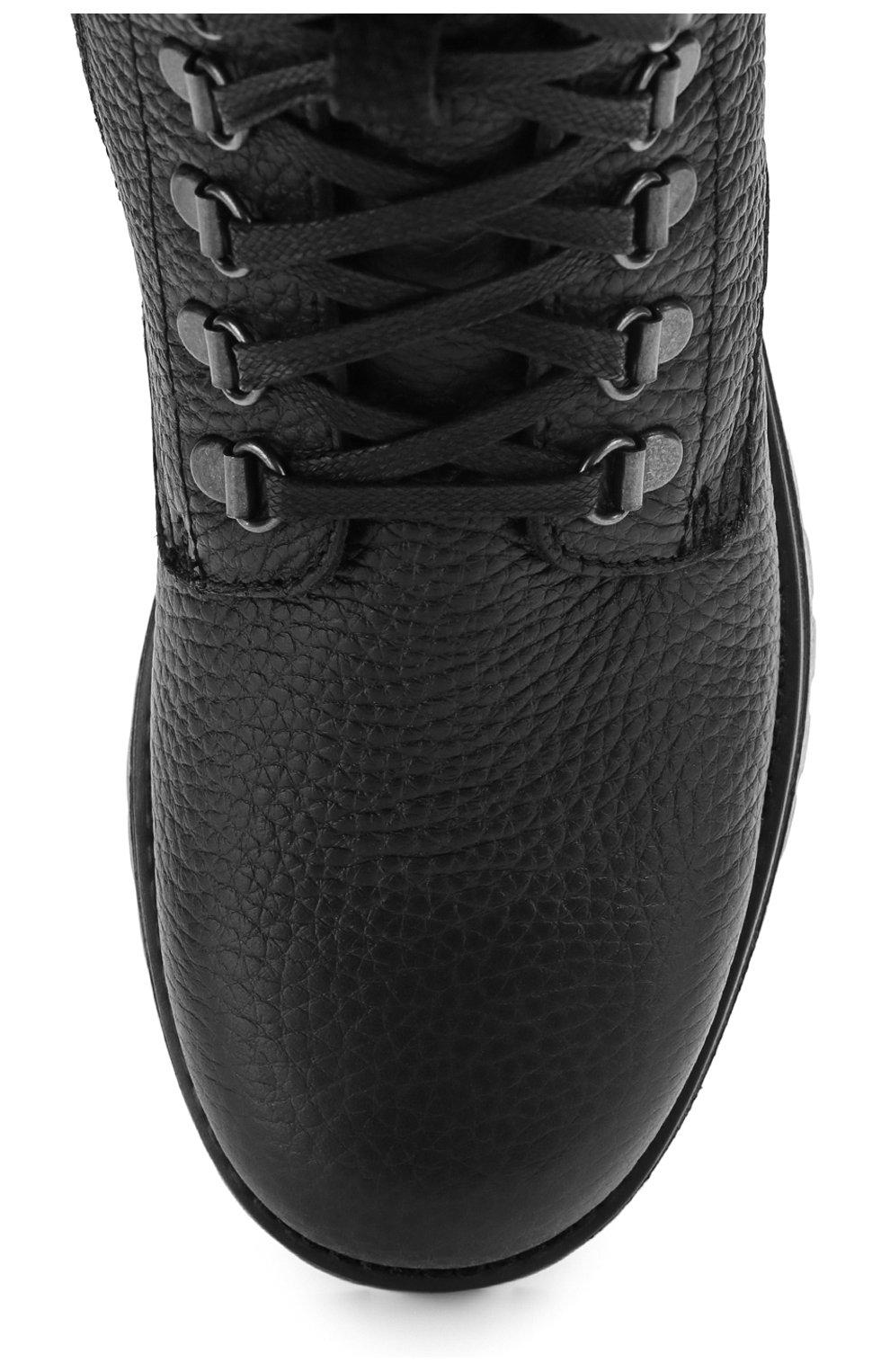 Детские кожаные ботинки на шнуровке с молнией Dolce & Gabbana черного цвета | Фото №4