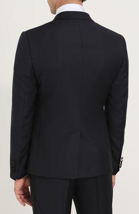 Шерстяной смокинг с шелковой отделкой Dolce & Gabbana темно-синий | Фото №3